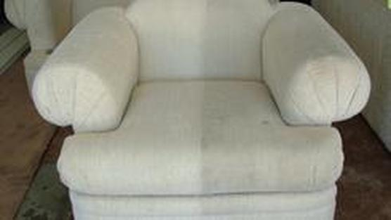 A Sofa half clean and half dirty