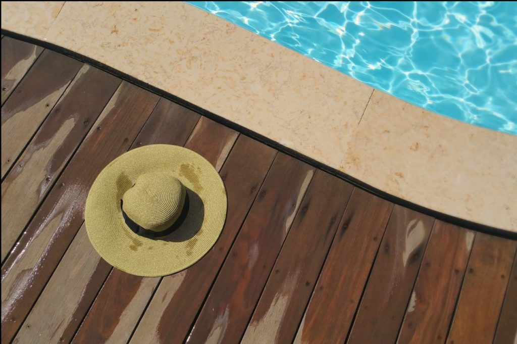 Pool Deck View with beach hat