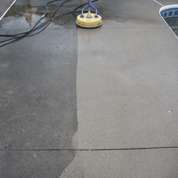 concrete pool deck - half wet and half dry and clean