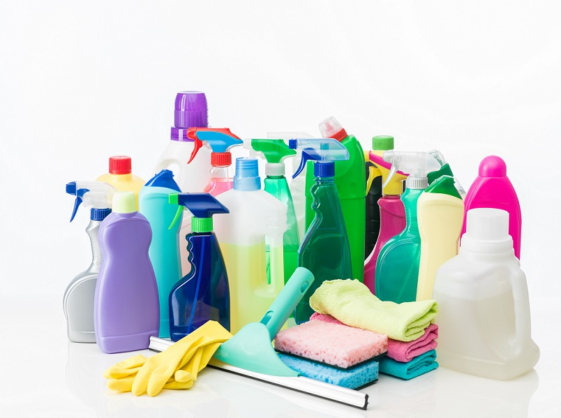 group of cleaning products and equipment on white background